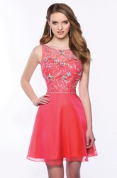 Bateau Neck Sleeveless A-Line Chiffon Homecoming Dress Featuring Crystal Detailing