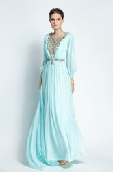 Floor-length Sweep Brush Train Long Sleeve A-Line Bateau Chiffon Prom Dress with Beading and Pleats