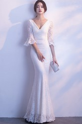 Mermaid Deep V-neck 3/4 Poet Sleeve Sexy Wedding Dress With Straps Back