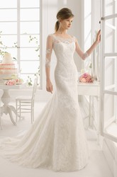 Maxi Scoop Half Sleeve Appliqued Lace Wedding Dress With Watteau Train And Illusion