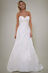 A-Line Short Sleeve Criss-Cross Sweetheart Satin Wedding Dress