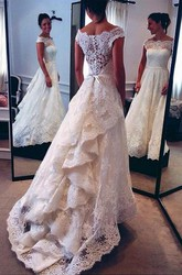 Elegant A Line Off-the-shoulder Lace Wedding Gown with Ruffles