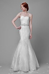 Trumpet Lace Sweetheart Wedding Dress With Beadwork And Lace-Up Back