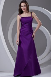 Spaghetti A-line Satin Formal Gown with Corset Back and Beading