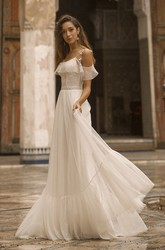 Tulle Spaghetti Straps Off-the-shoulder Adorable Wedding Dress With Lace Details
