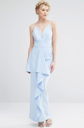 Sheath Floor-Length Spaghetti Splited Chiffon Bridesmaid Dress With Draping And Straps