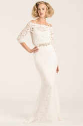 Floor-Length Off-The-Shoulder Half Sleeve Jeweled Lace Wedding Dress