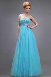 Empire Sweetheart Sleeveless Tulle Dress With Beading and Pleats