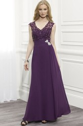 V-Neck Cap Sleeve Chiffon Formal Dress With Beading And Illusion Back