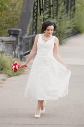 Lace Wedding Tea Length Runaround Sue Dress