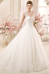 Cap sleeve A-line Wedding Gown with Lace Bodice and Keyhole Back