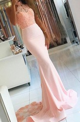 Sleeveless Sweep Brush Train Mermaid Trumpet High Neck Satin Lace Dress