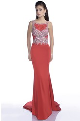 Sheath Chiffon Sleeveless Prom Dress With Bateau Neckline And Sequined Bodice