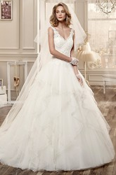Ruching Wedding Dress with Low-V Neck and Open Back