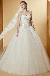 Special Sweetheart Ball Gown With Appliques Illusion Corset