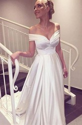 A Line Off-the-shoulder Satin Zipper Wedding Dress