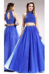 Two-Piece A-Line Floor-Length High Neck Sleeveless Satin Keyhole Dress With Beading