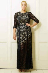 Half-Sleeve Ankle-Length Scoop-Neck Lace Plus Size Prom Dress