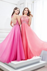 Floor-Length Sleeveless Scoop Neck Appliqued Satin Chiffon Prom Dress