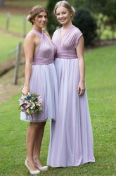 Knee-Length Strapped Sleeveless Ruched Chiffon Bridesmaid Dress