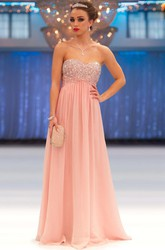 A-Line Beaded Sweetheart Empire Sleeveless Long Chiffon Prom Dress With Pleats