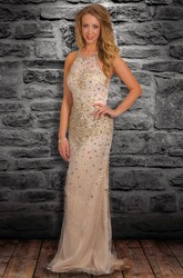 Sheath Scoop-Neck Crystal Maxi Sleeveless Tulle Prom Dress