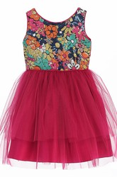 Tea-Length Floral Floral Tulle&Sequins Flower Girl Dress With Ribbon