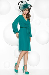 Knee-Length V-Neck Balloon Sleeve Jeweled Chiffon Mother Of The Bride Dress With Draping