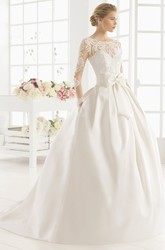 Maxi Scoop Long-Sleeve Bowed Satin Wedding Dress With Lace And Illusion