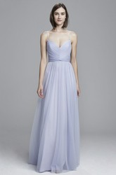 Floor-Length Spaghetti Tulle Bridesmaid Dress With Pleats And V Back