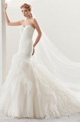 Sweetheart Sheath Mermaid Lace Bridal Gown With Ruffles And Brush Train