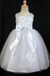 Tea-Length Embroideried Bowed Split-Front Tulle&Satin Flower Girl Dress With Sash