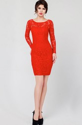 Sheath Short Mini Jewel Long Sleeve Lace Low V Back Dress