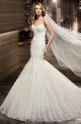 Sweetheart Court-train Mermaid Wedding Gown with Lace Straps and Open Back