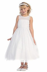 Tea-Length Bell-Sleeve Pleated Flower Girl Dress With Illusion