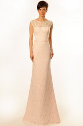 Sheath Cap-Sleeve Floor-Length Scoop Lace Prom Dress With Low-V Back And Brush Train