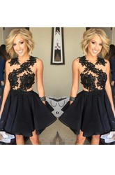 A-line Short Mini Sleeveless Jewel Appliques Ruching Ruffles Chiffon Lace Homecoming Dress