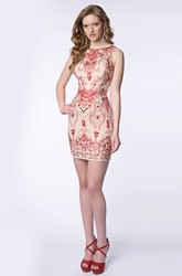 Sleeveless Short Sheath Beaded Homecoming Dress With Bateau Neckline