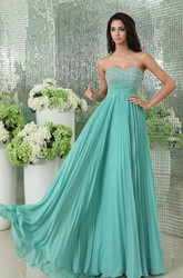 Pleated Empire Chiffon Prom Gown With Sequined Bodice