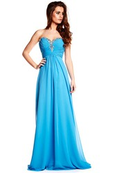 Sleeveless Sweetheart Beaded Chiffon Prom Dress With Brush Train