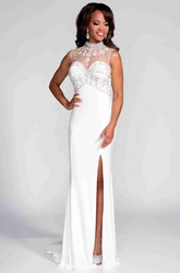 Sleeveless High Neck Sheath Jersey Prom Dress With Illusion Back