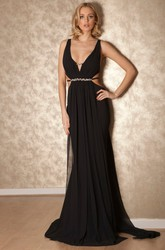 Sheath Sleeveless Jeweled V-Neck Floor-Length Chiffon Prom Dress With Pleats