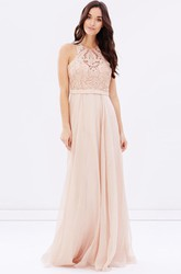 Sheath Sleeveless Appliqued Scoop Neck Chiffon Bridesmaid Dress With Sequins