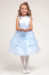 Tea-Length Floral Ruched Floral Organza&Satin Flower Girl Dress With Sash