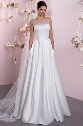 A-Line Floor-Length Lace Sleeveless Scoop Satin Wedding Dress With Illusion Back
