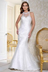 Floor-Length High Neck Appliqued Satin Wedding Dress With Court Train And Illusion