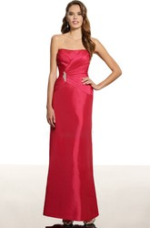 Floor-Length Strapless Criss-Cross Satin Bridesmaid Dress