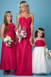 Floor-Length Sweetheart Criss-Cross Sleeveless Satin Bridesmaid Dress