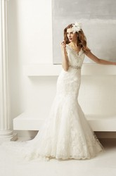 V-Neck Floor-Length Appliqued Jeweled Lace Wedding Dress With Court Train And V Back