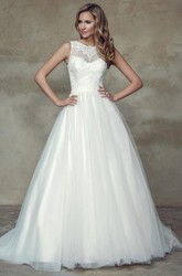 A-Line Ball-Gown Floor-Length Sleeveless Appliqued Scoop Lace&Satin Wedding Dress With Court Train And Illusion Back